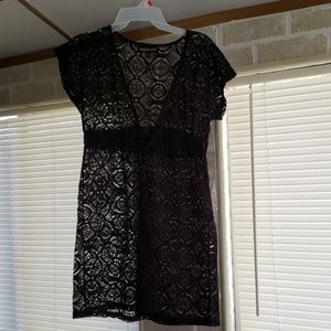 Black lace bathing suit cover up